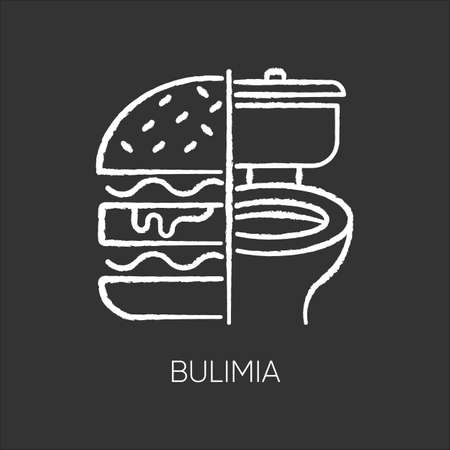 Bulimia chalk icon. Eating disorder. Depression and anxiety. Vomiting food in bathroom. Unhealthy hunger. Binge eating from stress. Mental disorder. Isolated vector chalkboard illustration