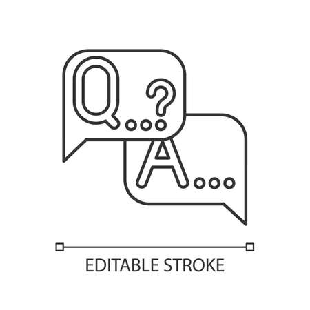 Q&A survey linear icon. Social research. Questions and answers poll. Consumer, customer satisfaction. Feedback. Thin line illustration. Contour symbol. Vector isolated outline drawing. Editable stroke