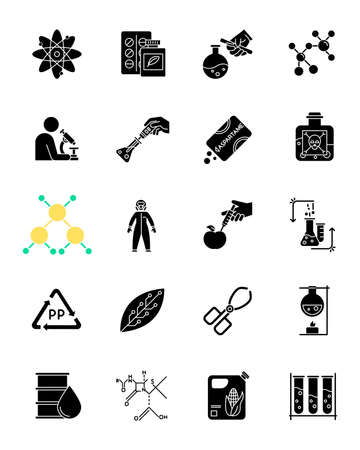 Science and nature interaction glyph icons set. Biotechnologies equipment. Working in laboratory. Products synthesis. Organic chemistry. Silhouette symbols. Vector isolated illustration