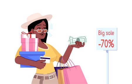 Addiction to shopping flat color vector illustration. Oniomania. Young stylish african american girl with shopping bags seeks discounts isolated cartoon character on white background