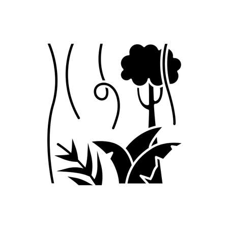 Rainforest plants and trees glyph icon. Evergreen forest vines. Lianas and fern frond. Indonesian jungle. Discover tropical flora. Silhouette symbol. Negative space. Vector isolated illustration