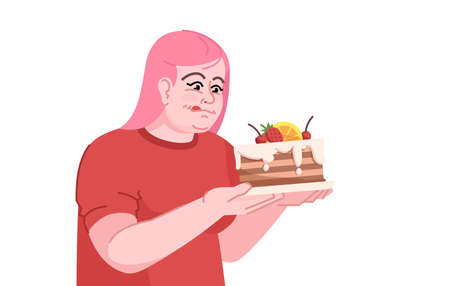 Binge eating flat color vector illustration. Overeating. The sugar intake in the diet. Gluttony. Overweight caucasian girl in anticipation of cake isolated cartoon character on white background