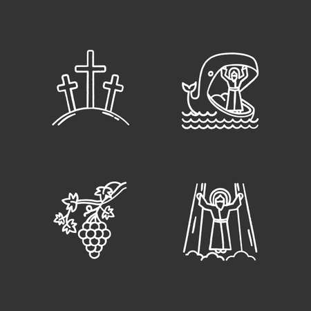 Bible narratives chalk icons set. Calvary, Jonah and whale, grapevine, ascension of Jesus Christ. Christian stories. Holy writ studying, learning. Isolated vector chalkboard illustrations Иллюстрация