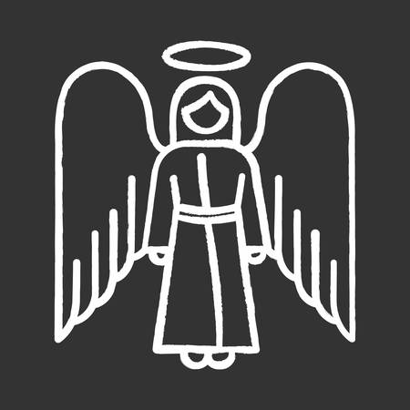 Angel chalk icon. Biblical archangel. Human figure in robe with wings and halo. Christmas holy angel. Gods messenger. Bible narrative. Christian symbol. Isolated vector chalkboard illustration Vector Illustration