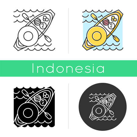 Floating market icon. Selling goods and local food from boat. Type of trade in Thailand, Indonesia and Vietnam. Linear, black, chalk and color styles. Isolated vector illustrations Vektorové ilustrace
