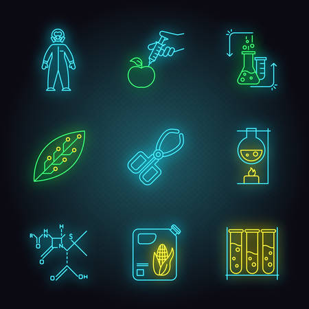 Science development neon light icons set. Biotechnologies equipment. Experiment method. Working in laboratory. Changing nature. Organic chemistry research. Glowing signs. Vector isolated illustrations Ilustrace