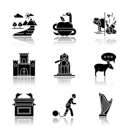 Bible narratives drop shadow black glyph icons set. Adam and Eve, Solomon Temple myths. Religious legends. Christian religion, holy and sacred book, Biblical stories. Isolated vector illustrations