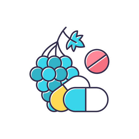 Vitamin intake color icon. Grape, organic food. Nutritious diet supplement. Pills and medication. Multivitamin complex. Wellness and healthcare. Pharmaceutical drug. Isolated vector illustration Illustration