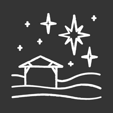 Christmas star chalk icon. Christian holy night. Christmas eve. Starry sky and small house. Birth of Jesus Christ. Star of Bethlehem. Bible story. Isolated vector chalkboard illustration