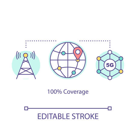 100 percent coverage concept icon. 5G technologies idea thin line illustration. High-speed connection. Telecommunicational tower. Vector isolated outline drawing. Editable stroke