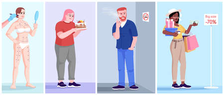 Human addiction flat vector illustrations set. Behavioral disorders. Plastic surgery addiction, gluttony, smoking, shopaholism. Men and women with unhealthy dependences cartoon characters