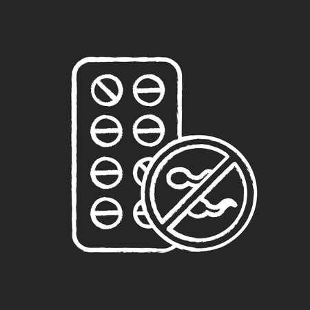 Birth control chalk icon. Female contraceptive pills. Unplanned pregnancy avoidance. Predmenstrual syndrome aid. Hormonal medication. Contraception method. Isolated vector chalkboard illustration