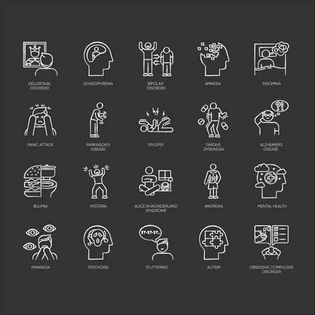 Mental disorder chalk icons set. Delusions, schizophrenia. Amnesia, insomnia. Bipolar disorder. Bulimia, anorexia. Autism. Obsessive-compulsive syndrome. Isolated vector chalkboard illustrations