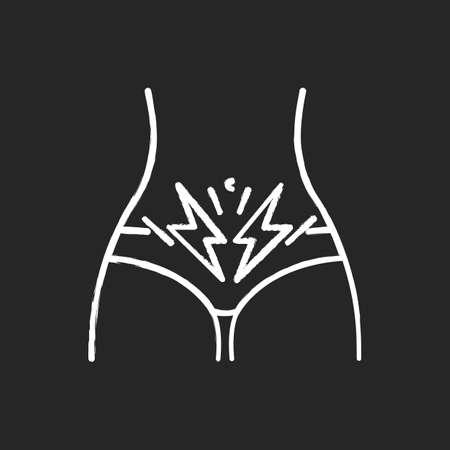 Cramp chalk icon. Menstrual abdominal pain. Predmenstrual syndrome. Period symptom. Female stomach pain. Diarrhea, constipation. Discomfort and spasm. Isolated vector chalkboard illustration Vektorové ilustrace