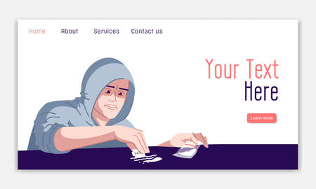 Cocaine addiction landing page vector template. Use of psychotropic substances danger website interface idea with flat illustrations. Dependency homepage layout. Web banner, webpage cartoon concept Illustration