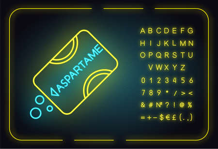 Aspartame neon light icon. Low calorie additive. Artificial sweetener. Sugar substitude. Organic chemistry product. Glowing sign with alphabet, numbers and symbols. Vector isolated illustration Vektoros illusztráció