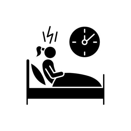 Change in sleep pattern glyph icon. Insomnia. Troubled woman. Stress and anxiety. Sleep deprivation. Restless girl at night. Silhouette symbol. Negative space. Vector isolated illustration  イラスト・ベクター素材