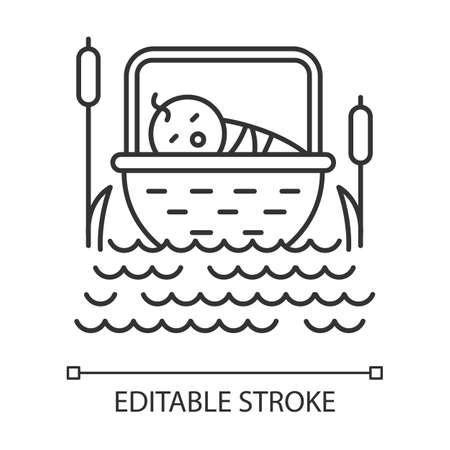 The Birth of Moses Bible story linear icon. Newborn in basket. Hebrew prophet. Exodus Biblical narrative. Thin line illustration. Contour symbol. Vector isolated outline drawing. Editable stroke