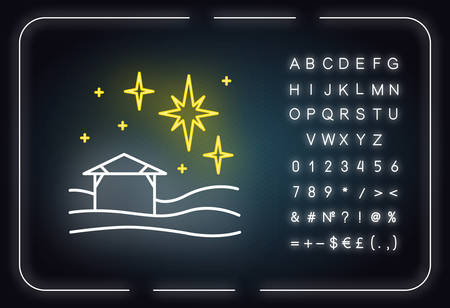 Christmas star neon light icon. Christian holy night. Christmas eve. Starry sky and house. Star of Bethlehem. Bible story. Glowing sign with alphabet, numbers and symbols. Vector isolated illustration