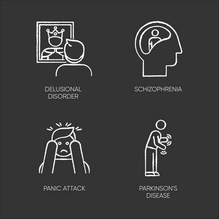 Mental disorder chalk icons set. Delusional person. Schizophrenia. Panic attack. Parkinson disease. Confused mind. Dementia. Tremor in movement. Isolated vector chalkboard illustrations Illustration