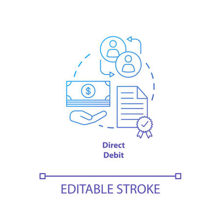 Direct debit blue gradient concept icon. Financial withdrawal idea thin line illustration. Bank transaction. Online banking operation. Payment method. Vector isolated outline drawing