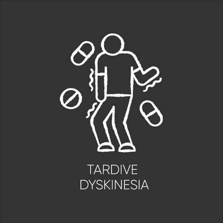 Tardive dyskinesia chalk icon. Tremor from medication. Movement problem from neuroleptics. Chorea, athetosis. Mental disorder. Neurological disease from pills. Isolated vector chalkboard illustration