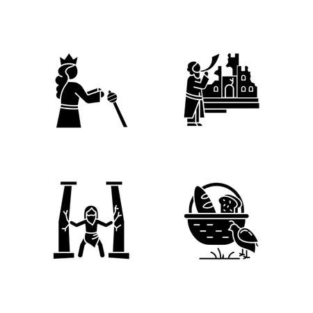 Bible narratives glyph icons set. Samson, manna and quail, The fall of Jericho myths. Christian religion, holy book scenes. Biblical stories plot. Silhouette symbols. Vector isolated illustration