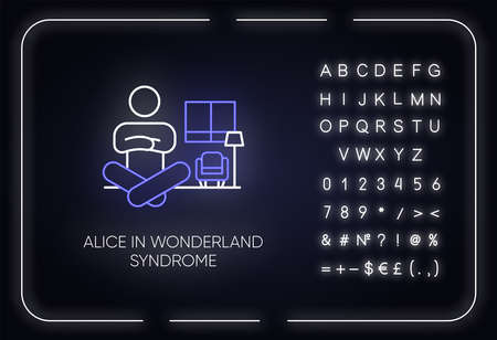 Alice in wonderland syndrome neon light icon. Visual perception. Size distortion. Dysmetropsia. Mental disorder. Glowing sign with alphabet, numbers and symbols. Vector isolated illustration Vettoriali