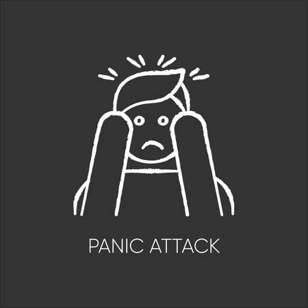 Panic attack chalk icon. Anxiety and depression. Paranoia and phobia. Migraine from stress. Person afraid and nervous. Mental disorder. Psychological problem. Isolated vector chalkboard illustration