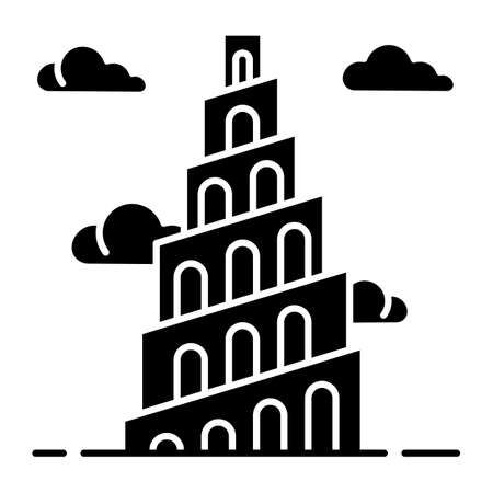 Babel Tower Bible story glyph icon. Ziggurat. High structure in Babylonia. Religious legend. Exodus Biblical narrative. Silhouette symbol. Negative space. Vector isolated illustration