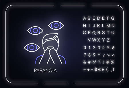 Paranoia neon light icon. Panic attack. Scared person. Fear, phobia. Terrified man. Stress and anxiety. Mental disorder. Glowing sign with alphabet, numbers and symbols. Vector isolated illustration