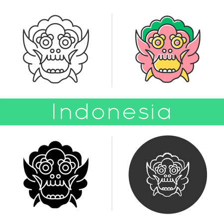 Indonesian mask icon. Balinese dragon. Culture and tradition of local tribes. Ritual, sacred and spiritual object. Linear, black, chalk and color styles. Isolated vector illustrations