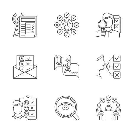 Survey methods linear icons set. Chemical analysis. Email, internet connection poll. Customer satisfaction. Feedback. Thin line contour symbols. Isolated vector outline illustrations. Editable stroke