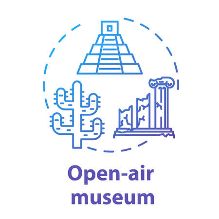 Open-air museum concept icon. Historical architecture exhibition. Temple ruins and colonnade. Folk building. Archeological exposition idea thin line illustration. Vector isolated outline drawing