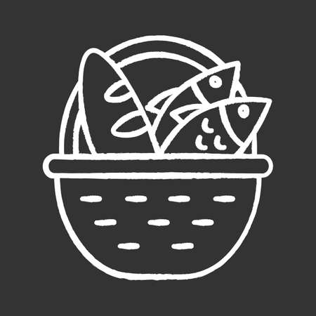 Bread and fish in basket chalk icon. Feeding the multitude. Holy week. Miracle of Christ. Blessing food from Bible. New Testament. Gospel story. Isolated vector chalkboard illustration