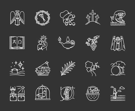 Bible narratives chalk icons set. Life of Jesus Christ. Gospel miracles and parables. Legends of Holy Scriptures. Old and New Testaments studying, learning. Isolated vector chalkboard illustrations