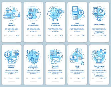 Payments onboarding mobile app page screen with linear concepts. Traditional methods. Transaction guide. Walkthrough steps graphic instructions. UX, UI, GUI vector template with illustrations Ilustrace