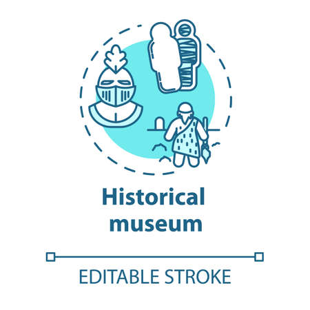 Historical museum concept icon. Paleontology and anthropology. Archeological artifact. Cultural exhibition idea thin line illustration. Vector isolated outline drawing. Editable stroke