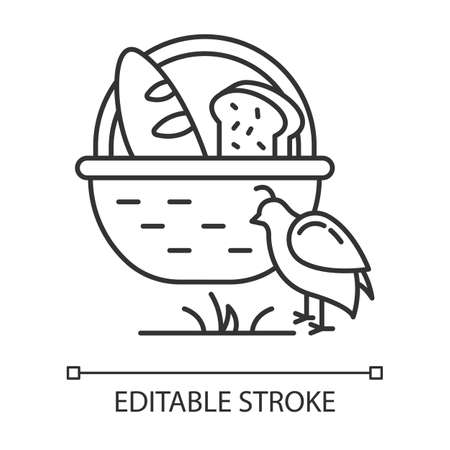 Manna and quail Bible story linear icon. Bread loaves in basket and fowl. Biblical narrative. Thin line illustration. Contour symbol. Vector isolated outline drawing. Editable stroke