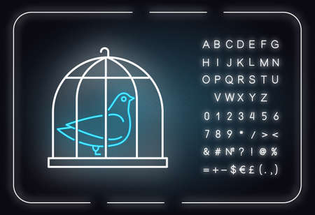 Pigeon in cage neon light icon. Captive bird. Harbinger of peace. Nightingale in captivity. Bible narrative. Glowing sign with alphabet, numbers and symbols. Vector isolated illustration