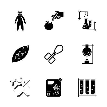 Science development glyph icons set. Biotechnologies equipment. Experiment method Working in laboratory. Changing nature. Organic chemistry research. Silhouette symbols. Vector isolated illustration