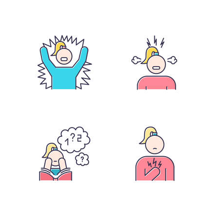 PMS symptoms color icons set. Emotional outburst. Irritability and stress. Poor concentration. Math problem solving. Chest pain. Female healthcare. Attention deficit. Isolated vector illustrations