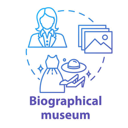 Biographical museum concept icon. Cultural materials exposition. Clothes and belongings display. Famous person history exhibition idea thin line illustration. Vector isolated outline drawing