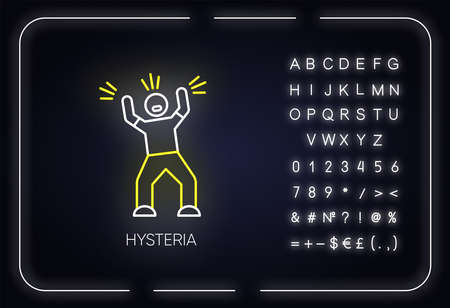 Hysteria neon light icon. Stress. Person screaming. Man shouting. Rage and frustration. Irritability. Mental disorder. Glowing sign with alphabet, numbers and symbols. Vector isolated illustration Illustration