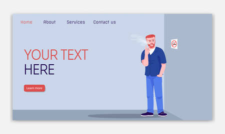 Nicotine addiction landing page vector template. Ignoring ban on smoking website interface idea with flat illustrations. Unhealthy habit homepage layout. Web banner, webpage cartoon concept