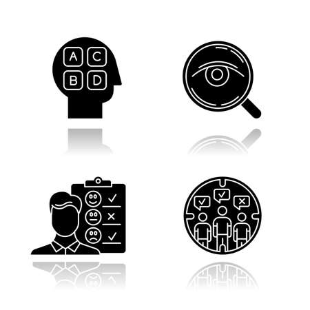 Survey methods drop shadow black glyph icons set. Analysis. Interview. Emotional opinion. Target population. Public opinion. Personality test. Customer review. Feedback. Isolated vector illustrations Ilustración de vector