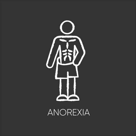 Anorexia chalk icon. Eating disorder. Underweight body mass. Anxiety and depression. Slim and skinny person. Unhealthy weight loss. Mental health. Isolated vector chalkboard illustration