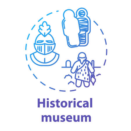 Historical museum concept icon. Paleontology and anthropology. Ancient archeological artifact. Sarcophagus, helmet. Cultural exhibition idea thin line illustration. Vector isolated outline drawing