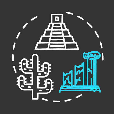 Open-air museum chalk concept icon. Historical architecture exhibition. Temple ruins and colonnade. Folk building. Archeological exposition idea. Vector isolated chalkboard illustration