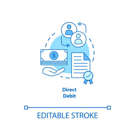 Direct debit turquoise concept icon. Financial withdrawal idea thin line illustration. Bank transaction. Online banking operation. Payment method. Vector isolated outline drawing. Editable stroke